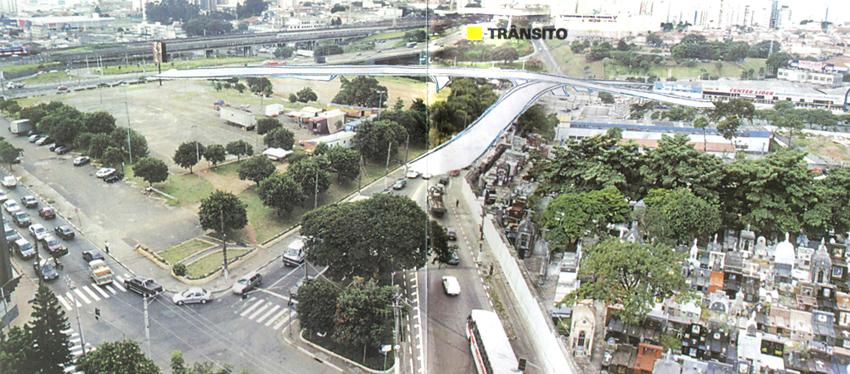 Abril de 2001: Fotomontagem e desenho de duas pontes (ainda sem as alças de acesso) propostas pela revista Alô Tatuapé.