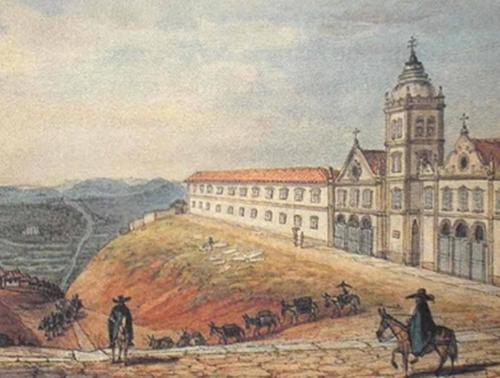 A aquarela acima, pintada por Debret (1768–1848), datada em 1827, mostra o Convento e a Igreja do Carmo, construídos em 1594, a pedido do frei Antônio de São Paulo. O artista, que também personificou o movimento dos tropeiros com seus chapelões, preocupou-se em mostrar o caminho que os levava  na direção do Rio de Janeiro e ao Vale do Paraíba. WIKIPEDIA
