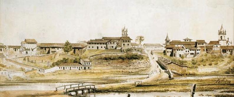 """Abaixo, a obra de Arnaud Julien Pallière (1784–1862), retrata a Várzea do Carmo e ao mesmo tempo nos dá uma ideia de como se desenvolveu a cidade em torno do Pátio do Colégio, visto à esquerda da aquarela datada em 1821. Sua descrição diz o seguinte: """"Ao chegarem do Rio de Janeiro ou de Santos, e já na entrada da cidade pelos lados do Brás, os viajantes tinham o privilégio de observar esta paisagem"""". WIKIPEDIA"""