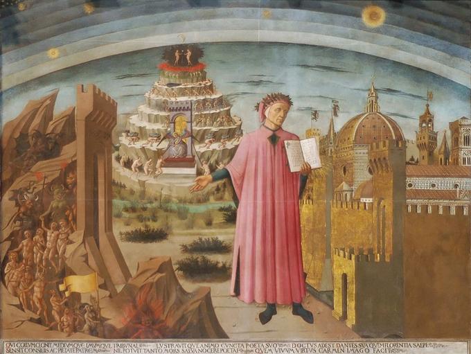 La Divina Commedia di Dante (Dante e a Divina Comédia) de Domenico di Michelino (1417–1491). Afresco de 1465, pintado na cúpula da igreja de Santa Maria del Fiore, em Florença (catedral de Florença), na Itália. Dante Alighieri é mostrado segurando uma cópia do seu poema épico A Divina Comédia, apontando para o pecado ou o inferno.