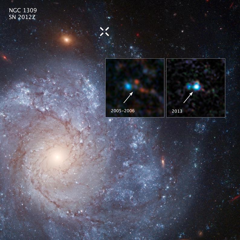 As duas imagens sobrepostas mostram o antes e depois de imagens capturadas pelo telescópio espacial Hubble da NASA da Supernova 2012Z na galáxia espiral NGC 1309. O X branco na parte superior da imagem principal marca a localização da supernova na galáxia. Crédito da imagem: NASA, ESA