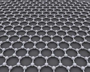 A estrutura cristalina ideal de grafeno tem o formato de uma grelha hexagonal. Imagem: AlexanderAlUS / Wikipedia