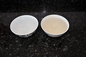 Água de beber, você beberia?  Amostras de água  vendida em galões e da que sai da torneira, colhida no Tatuapé. Foto: aloimage