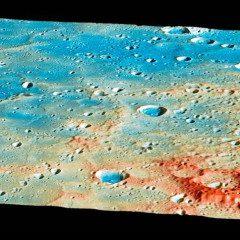Visão geral da região de impacto da Sonda Messenger sobre o planeta Mercúrio