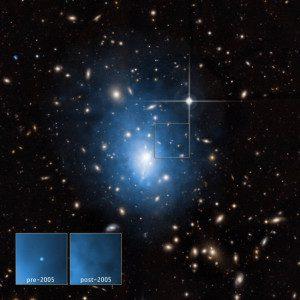 A galáxia anã está localizada no aglomerado de galáxias Abell 1795. Foto: Raio-X: NASA / CXC / Univ. de Alabama / W.P.Maksym et al & NASA / CXC
