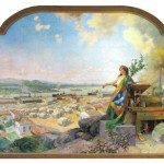 """O livro apresenta, em sua capa dura, detalhe do quadro """"Embarque de café no Porto de Santos"""", pintado em 1911 por Oscar Pereira da Silva e pertencente ao acervo da instituição. Foto: Esalq"""