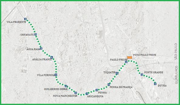 Mapa esquemático de expansão da Linha 2 Verde do Metrô, onde é possível visualizar o traçado das estações. Imagem: Metrô/Divulgação