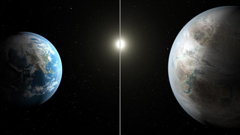 Concepção artística comparando a Terra (esquerda) com o novo planeta descoberto, chamado de Kepler-452b, que é cerca de 60 por cento maior em diâmetro. Créditos: NASA / JPL-Caltech / T. Pyle