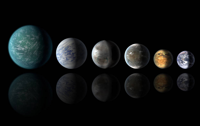 """O exoplaneta Kepler-452b, assemelha-se às características da Terra, mais do que qualquer outro encontrado até agora. Esta concepção artística mostra um alinhamento de planetas habitáveis na """"Goldilocks zone"""": a partir da esquerda, Kepler-22b, Kepler-69c, o recém-anunciado Kepler-452b, Kepler-62f e Kepler-186F. O último planeta da fila é a Terra, mostrada como referência. Imagem: NASA / Ames / JPL-Caltech."""