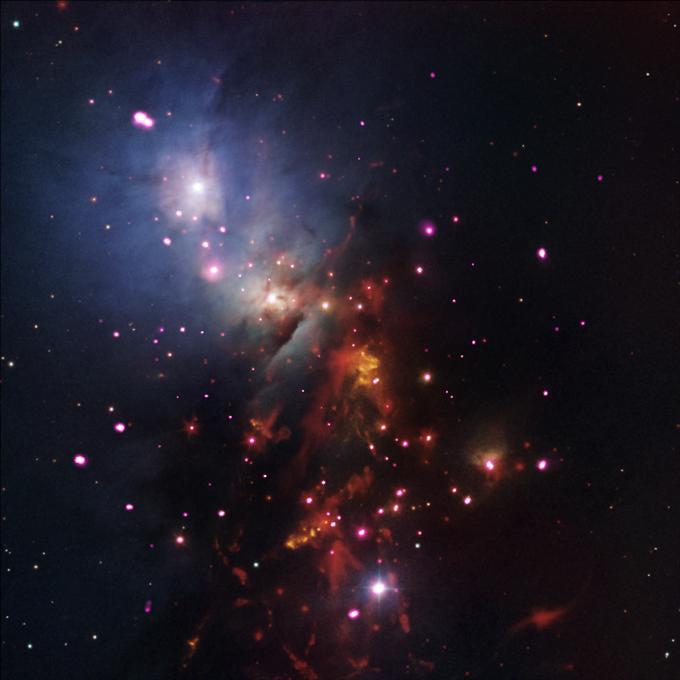 Imagem: Raio-X: NASA / CXC / SAO / S.Wolk et al; Óptico: DSS & NOAO / AURA / NSF; Infrared: NASA / JPL-Caltech