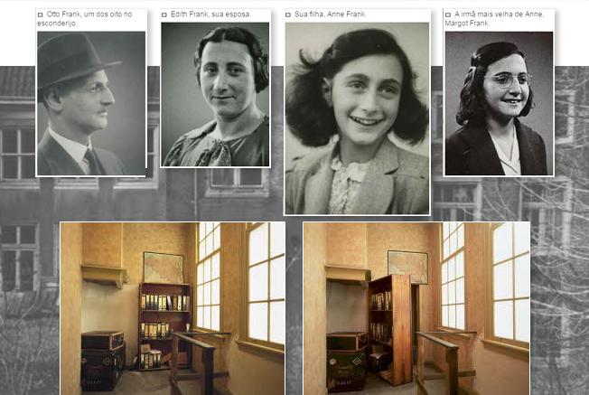 Acima, a família Frank: Otto, sua esposa Edith, Anne e Margot. Na parte debaixo, a estante móvel que escondia a porta para um anexo secreto, no esconderijo (imagem de fundo). Todas as imagens podem ser vistas no site Anne Frank, onde existe um rico material sobre essa história comovente.