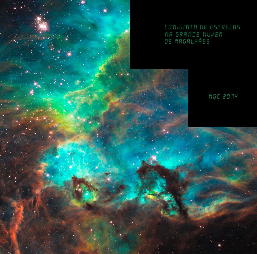 Conjunto de estrelas NGC 2074 na Grande Nuvem de Magalhães. Imagem: NASA, ESA, e M. Livio (STScI)