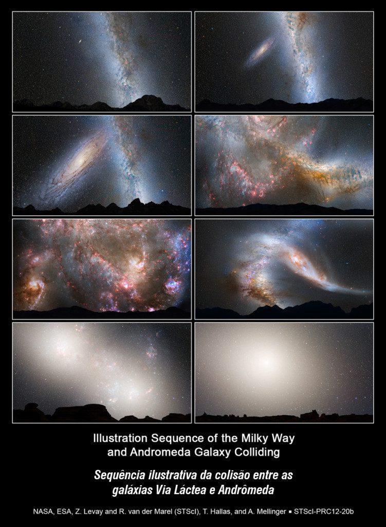 Esta série de ilustrações fotográficas mostra a fusão prevista entre a Via Láctea e a vizinha galáxia de Andrômeda. :: Primeira fila • foto da esquerda: dias atuais. • à direita: em 2 bilhões de anos o disco da galáxia de Andrômeda se aproxima e é visivelmente maior. :: Segunda fila • esquerda: em 3,75 bilhões de anos Andrômeda preenche o campo de visão. • direita: em 3,85 bilhões de anos, um céu flamejante devido à formação de novas estrelas. :: Terceira fila • esquerda: em 3,9 bilhões de anos, a formação de estrelas continua. • direita: em 4 bilhões de anos Andrômeda se estende e a Via Láctea perde a sua forma. :: Quarta fila • esquerda: em 5,1 mil milhões de anos, os núcleos da Via Láctea e Andrômeda aparecem como um par de lóbulos brilhantes. • direita: em 7 bilhões de anos, as galáxias unidas formam uma enorme galáxia elíptica e o seu núcleo brilhante domina o céu noturno.