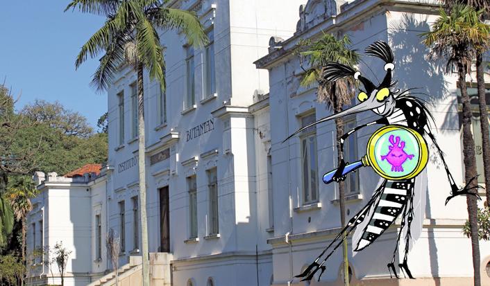 Fachada do Edifício Vital Brasil no Butantan e ilustração da Zika. Foto e imagem: IB / divulgação
