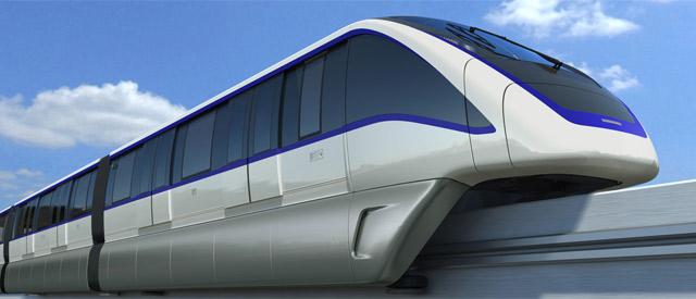 Trem do monotrilho (maquete). Imagem: divulgação / Metrô