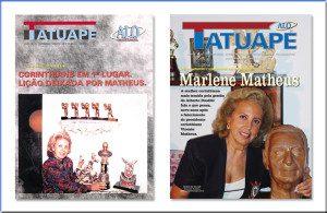 Marlene Matheus nas capas nº 1 e 101 da revista Alô Tatuapé. Imagem: aloart