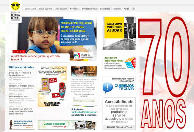Página inicial do site da fundação, onde é possível descobrir, por exemplo, como ajudar as pessoas com deficiência visual dedicando as notas fiscais na hora das compras ou soluções de acessibilidade para negócios. Foto: reprodução