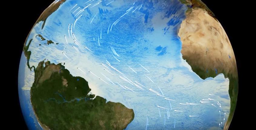 Pesquisa paleoclimática mostrou que, no passado, o colapso desse processo oceânico provocou chuvas torrenciais e prolongadas no Nordeste e maior emissão de CO2 nas imediações da Antártica, entre outras consequências (imagem: NASA/Goddard Space Flight Center Scientific Visualization Studio)