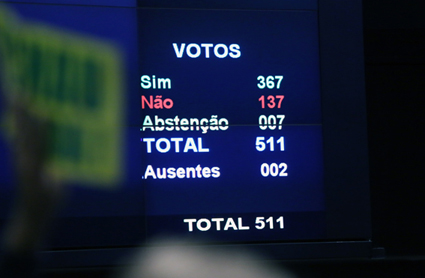 17/04/2016 - Brasília- DF, Brasil -Sessão especial para votação do parecer do deputado Jovair Arantes (PTB-GO), aprovado em comissão especial, que recomenda a abertura do processo de impeachment da presidente da República. Foto: Antonio Augusto/ Câmara dos Deputados