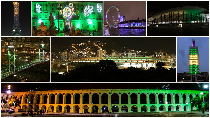 Atrações turísticas nos quatro cantos do mundo se iluminaram para celebrar o marco de 100 dias para os Jogos. Fotos: Itamaraty e Rio 2016