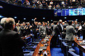 Plenário do Senado Federal ao final da votação da admissibilidade do processo de impeachment contra a presidente Dilma Roussef. Foto:  Jonas Pereira/Agência Senado