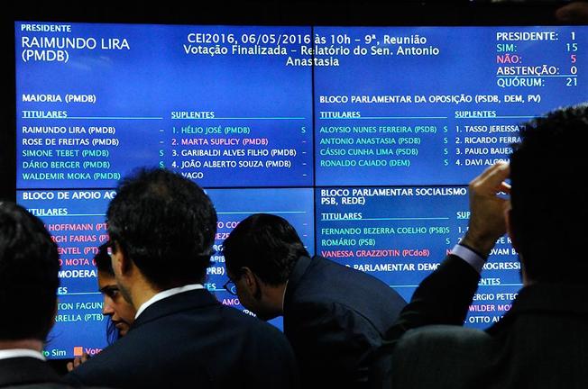 Painel de votação na CEIS: 15 a 5 a favor do impeachment. Foto: Marcos Oliveira/Agência Senado