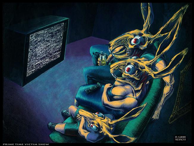 """Vítimas """"da poluição sonora"""" em horário nobre: a imagem que mostra os ruídos da TV, também serve para ilustrar a situação dos nervos em frangalhos em que vivem as pessoas assoladas pela poluição sonora. Ilustração de D-GRRR via Wikicommons"""