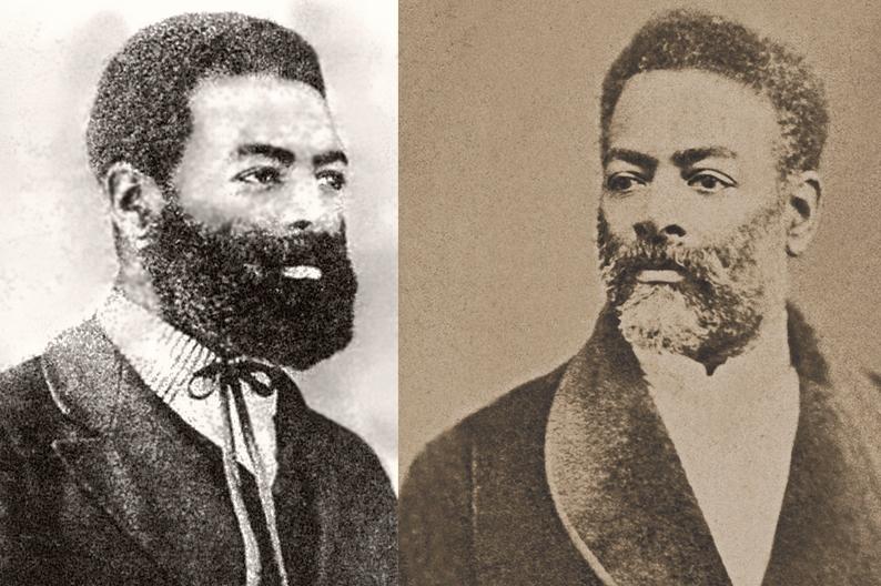 Luiz Gama por volta de 1860 (autor desconhecido e à direita, o líder abolicionista e ex-escravo brasileiro, numa imagem por volta de 1880.