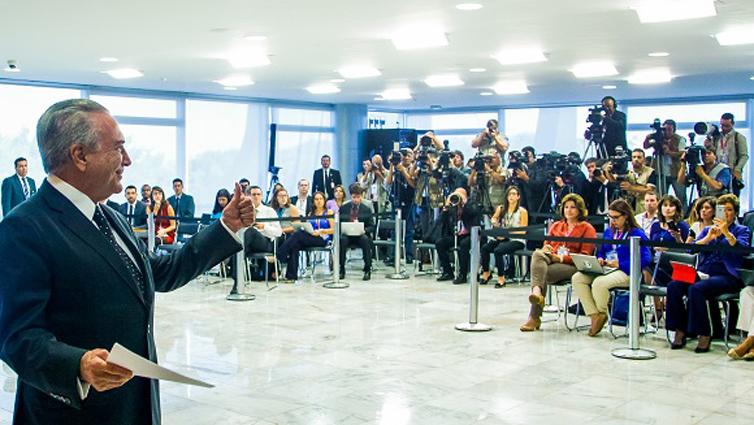Brasília - DF, 06/06/2016. Presidente Interino Michel Temer durante coletiva de imprensa e fala a respeito da governança nos Fundos de Pensão. Foto: Marcos Corrêa/PR