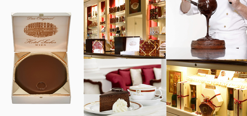 """No Hotel Sacher são produzidas 270.000 unidades da """"Sachertorte"""" por ano. Considerada """"seca"""" pela maioria dos vienenses, a torta é tradicionalmente servida com chantili. Fotos: Leading Hotels/divulgação"""