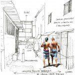 Parte de estudo que determinou respostas propositivas para a qualificação dos interstícios urbanos de uma viela de Paraisópolis. Imagem: Eduardo Pizarro