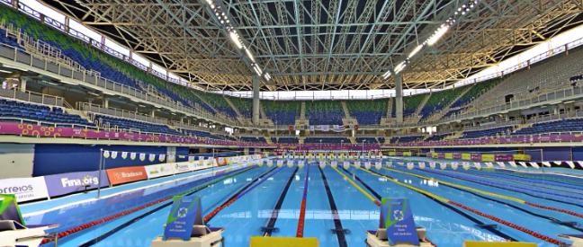 Estádio Aquático Olímpico, na Barra da Tijuca, visto com a ajuda do Google Street View. Foto: Reprodução/Google Street View