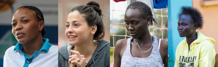 As atletas que competem no Rio 2016 sob a bandeira Olímpica: Yolande Bukasa Mabika (judô) natural da República Democrática do Congo – país anfitrião: Brasil; Yusra Mardini (natação) Síria–Alemanha; Anjelina Nada Lohalith (atletismo 1500m) e Rose Nathike Lokonyen (atletismo 800m) Sudão do Sul–Quênia. Fotos: Rio 2016 / Divulgação