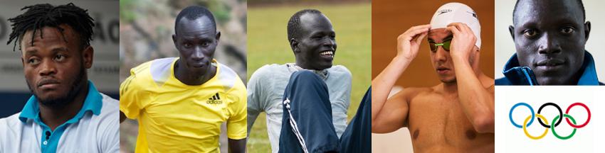 Os atletas são: Popole Misenga (judô) natural do Congo – país anfitrião: Brasil; James Byang Chiengjiek (atletismo 400m) Sudão do Sul–Quênia; Yiech Pur Biel (atletismo 800m); Rami Anis (natação) Síria–Bélgica; Paulo Amotun Lokoro (atletismo 1500m) Sudão do Sul–Quênia e Yonas Kinde (maratona) Etiópia–Luxemburgo. Foto: Rio 2016