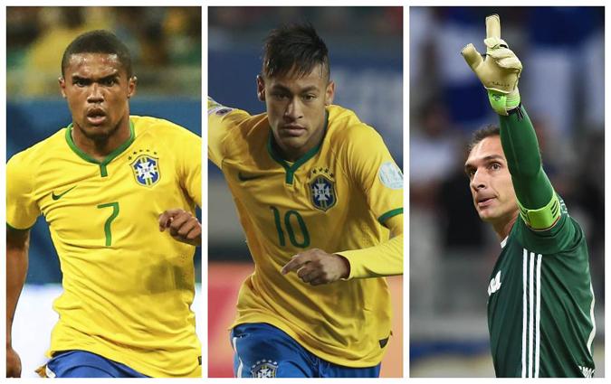 Douglas Costa, Neymar e Fernando Prass são os escolhidos do técnico como atletas acima de 23 anos. Foto: Getty Images