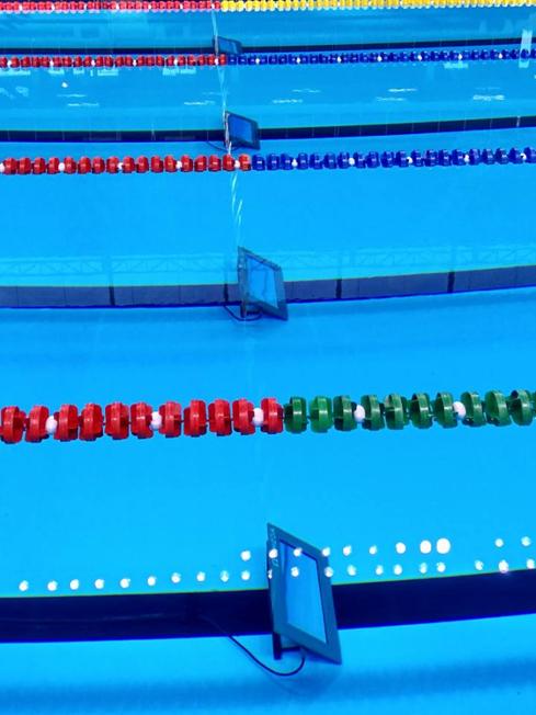 Os contadores debaixo d'água. Foto: Rio 2016