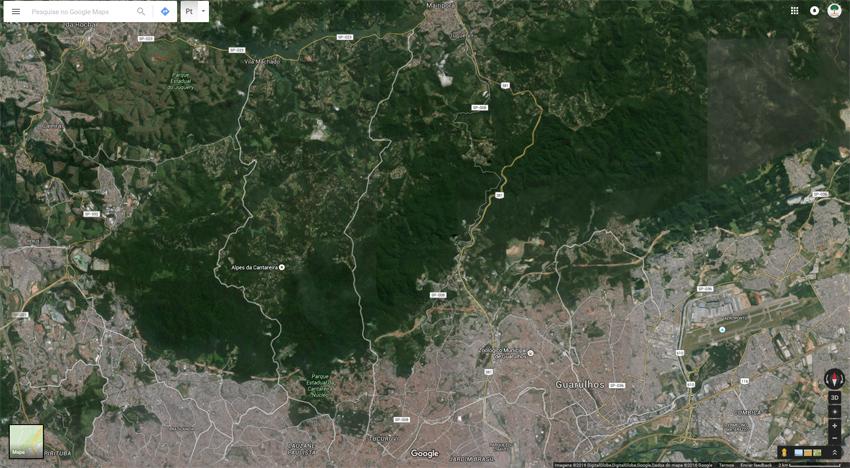 Mapa do Google, onde podemos avistar a Serra da Cantareira até Mairiporã. Clique aqui, acesse o mapa e compare o tamanho dos parques do bairro (utilizando a barra de rolagem estão mais abaixo no mapa, que não aparece nesta imagem) com a unidade de conservação da Cantareira. Imagem: Google Earth