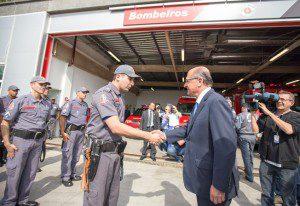 Governador Geraldo Alckmin, entrega a nova sede do 39º Batalhão de Polícia Militar Metropolitano (39º BPM/M) e do Posto de Bombeiros Águia de Haia. Foto: Daniel Guimarães/A2img