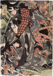 Miyamoto Musashi em uma das suas lutas, cujas histórias são contadas em 1.800 páginas do livro que leva o seu nome