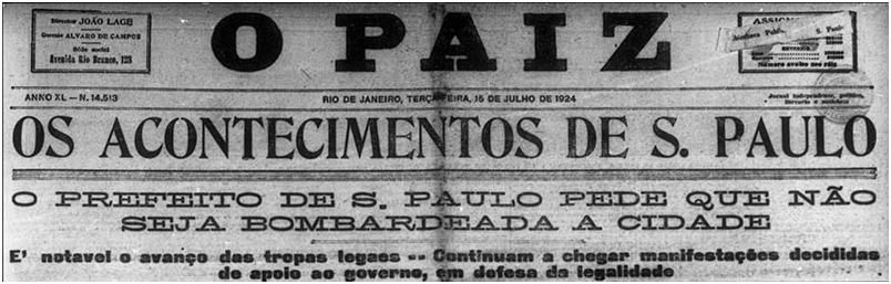 Manchete do jornal O Paiz, 15 de julho de 1924. Foto: Acervo FES