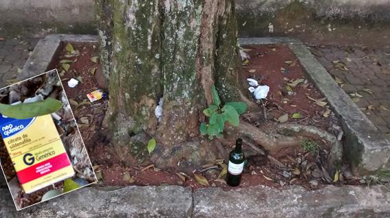Lixo deixado em frente às casas em área estritamente residencial no Tatuapé, com mais sacos plásticos com fezes dos animais que usam a via pública para defecar, trazidos pelos donos. Além disso, vemos uma garrafa de vinho barato e uma caixa de citrato de sildenafila, medicamento usado para disfunção erétil: motel. Foto: aloimage