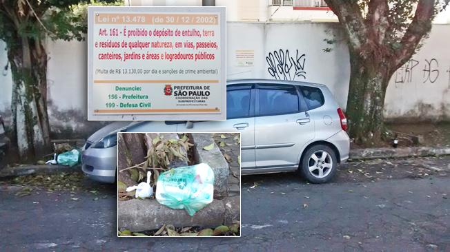 Lixo deixado em frente às casas em área estritamente residencial no Tatuapé, mais sacos plásticos com fezes dos animais que usam a via pública para defecar, trazidos pelos donos, sob a placa de advertência. Além disso, vemos uma garrafa de vinho barato e uma caixa de citrato de sildenafila, medicamento usado para disfunção erétil: motel. Foto: aloimage