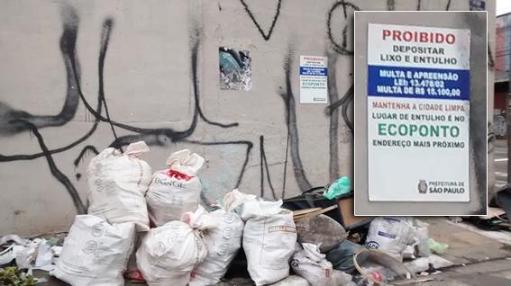 Entulho e lixo na Rua Saldanha Marinho esquina com a Avenida Celso Garcia bem embaixo da placa em destaque na foto: imundície, pichações e falta de responsabilidade. Foto: aloimage