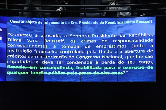 Painel no Plenário do Senado, mostra a decisão de manter os direitos políticos de Dilma Rousseff. Foto: Marcos Oliveira/Agência Senado