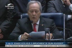 Reabertura dos trabalhos para o julgamento final do processo de impeachment da presidente afastada Dilma Rousseff. Imagem: fotoframe TV Senado / reprodução