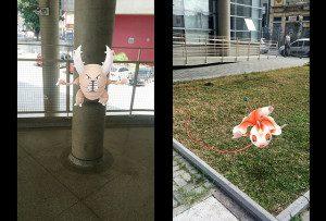 Pokémon encontrado no corredor da Etec Santa Ifigênia 'mostra os dentes' e desafia competidores. Ao seu lado, outro Pokémon é flagrado 'bebendo água na mangueira' do gramado da Etec. Fotos: divulgação