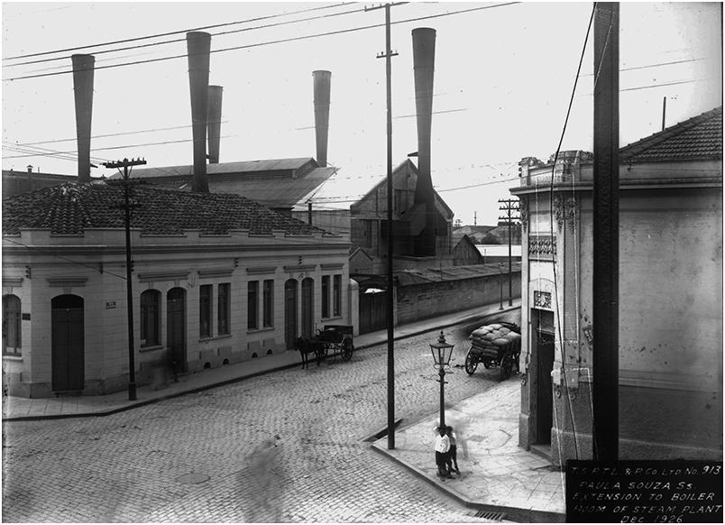 Vista externa da casa das caldeiras da Usina Paula Souza. Dezembro, 1926. Foto: Acervo FES