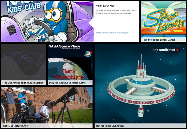 Homepage do site Nasa Kid's Club, onde é possível se divertir e aprender. Imagem: NASA / Reprodução