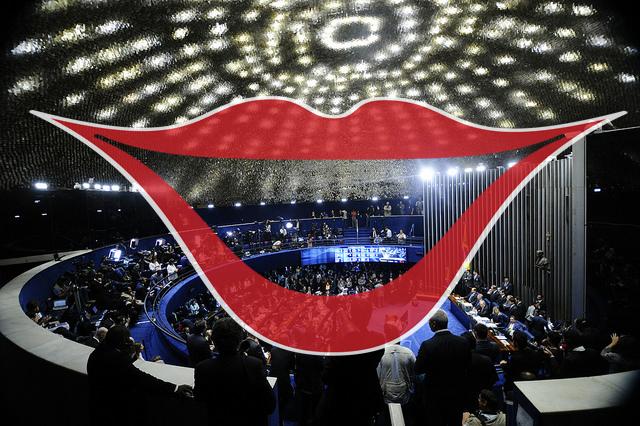 Ilustração: Impeachment - sorrindo para a Nação. Foto: Marcos Oliveira/Agência Senado. Sobrefoto: aloart