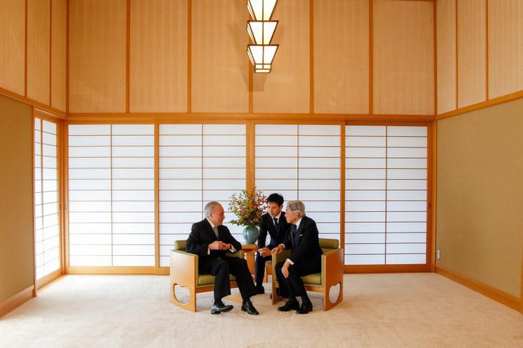 Presidente Michel Temer durante encontro com Sua Majestade o Imperador Akihito.  Há 11 anos um presidente brasileiro não visitava o país. (Tóquio - Japão, 19/10/2016) Foto: Beto Barata/PR